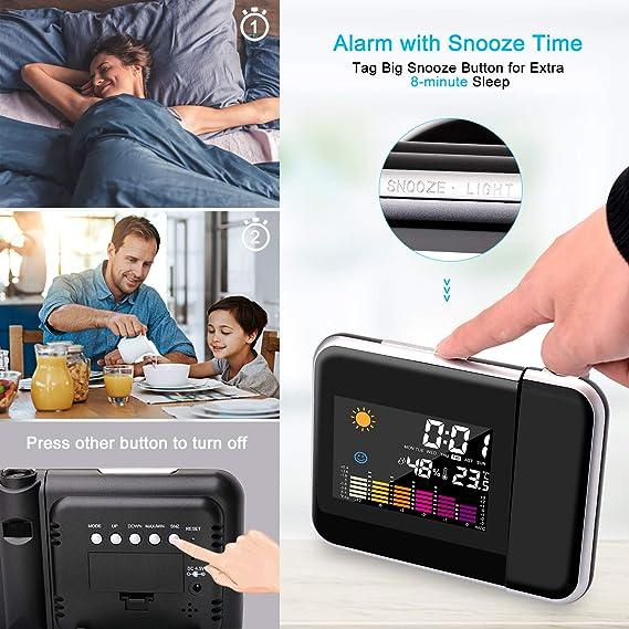 Hangrui Reloj Despertador Digital,Reloj Despertador con Proyector de Alarma Dual,Proyecto Actualizado Despertador Digital,Modern Reloj Despertador para ...