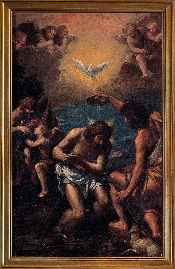Berkin Arts Scarsellino Classic Framed Giclee Print On Canvas-Famous Paintings Fine Art Poster-Reproduction Wall Decor(Baptism Christ) #JK