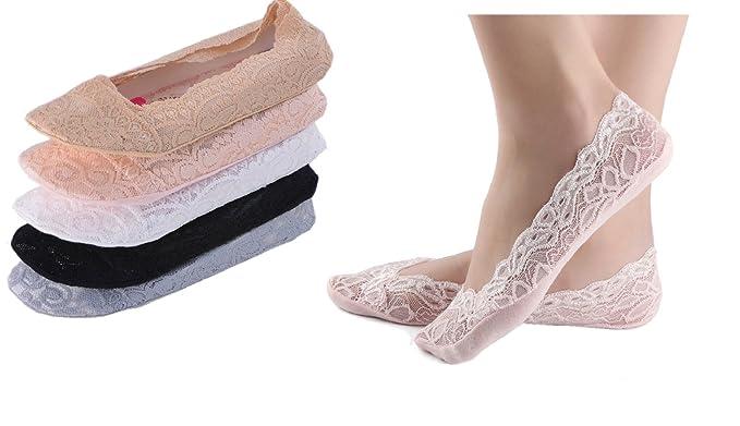 heekpek 5 Pares Calcetines Invisibles Mujer Calcetines para Mujer Invisibles De Algodón Con Silicona Antideslizante Anti-olor Calcetines Cortos: Amazon.es: ...