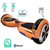 Self Balancing Scooter Hoverboard UL2272 Certified Smart Electric Personal Transportation Bluetooth with LED Light (Rose Gold)