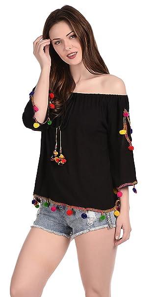 c37396e684126 Damen Mode Girls  Top (Dmlt16000 Black Free Size)  Amazon.in ...
