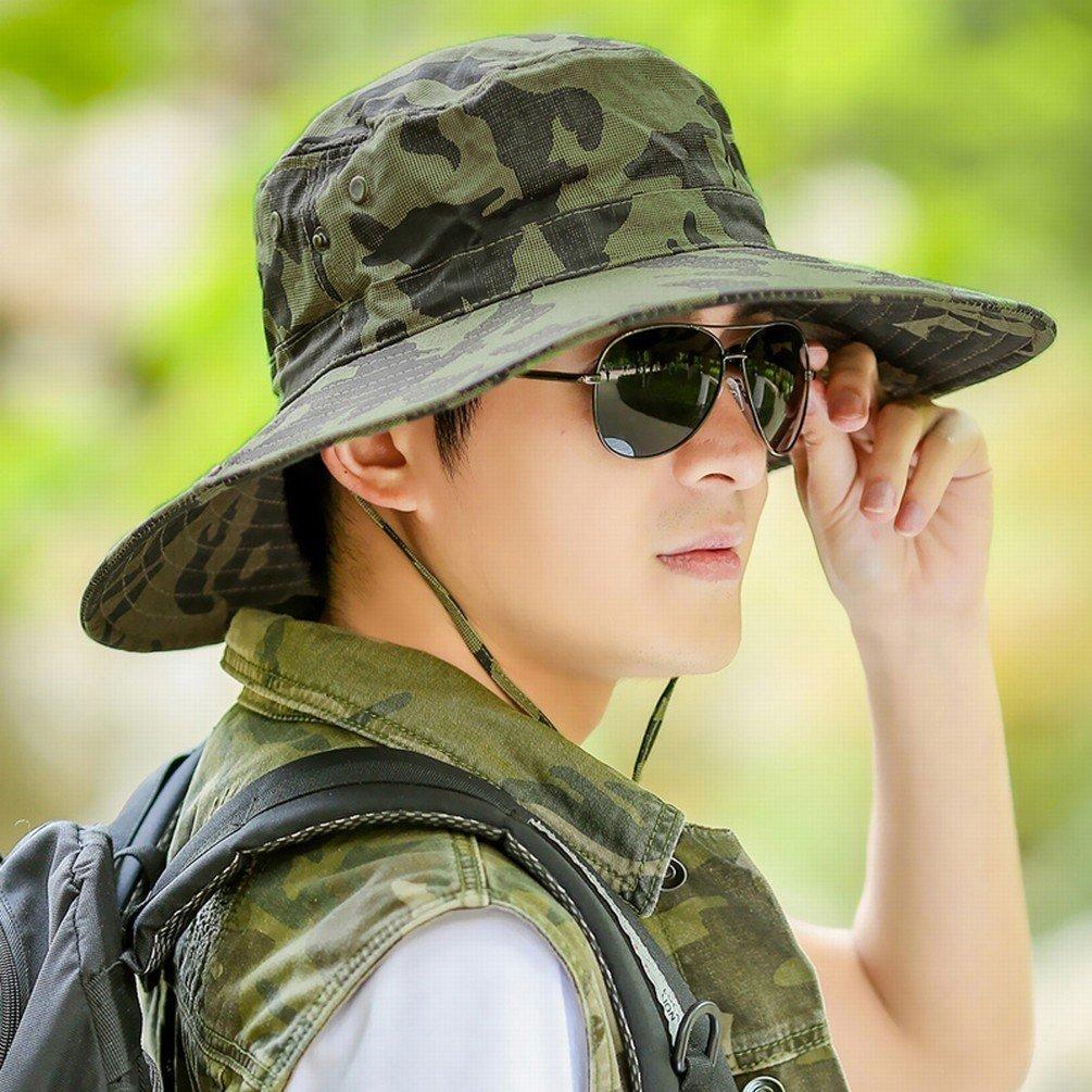 MOMO Sombrero Plegable Sombrero de Pesca Al Aire Sombrero Libre Sombrero Aire de Pesca Sombrero de Camuflaje Colgante Grande Sombrero de Pescador de Los Hombres Sombrero de Sol de Protección Solar,UN 47f600