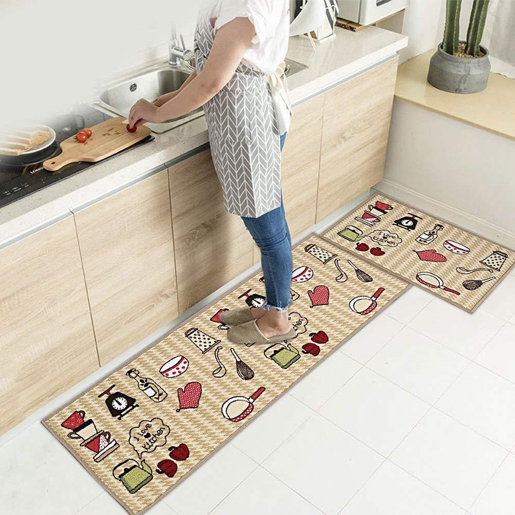 """EGOBUY 2 Piece Non-Slip Kitchen Mat Rubber Backing Doormat Runner Rug Set, Kitchenware Design (16x24""""+16x47"""", Kitchenware)"""