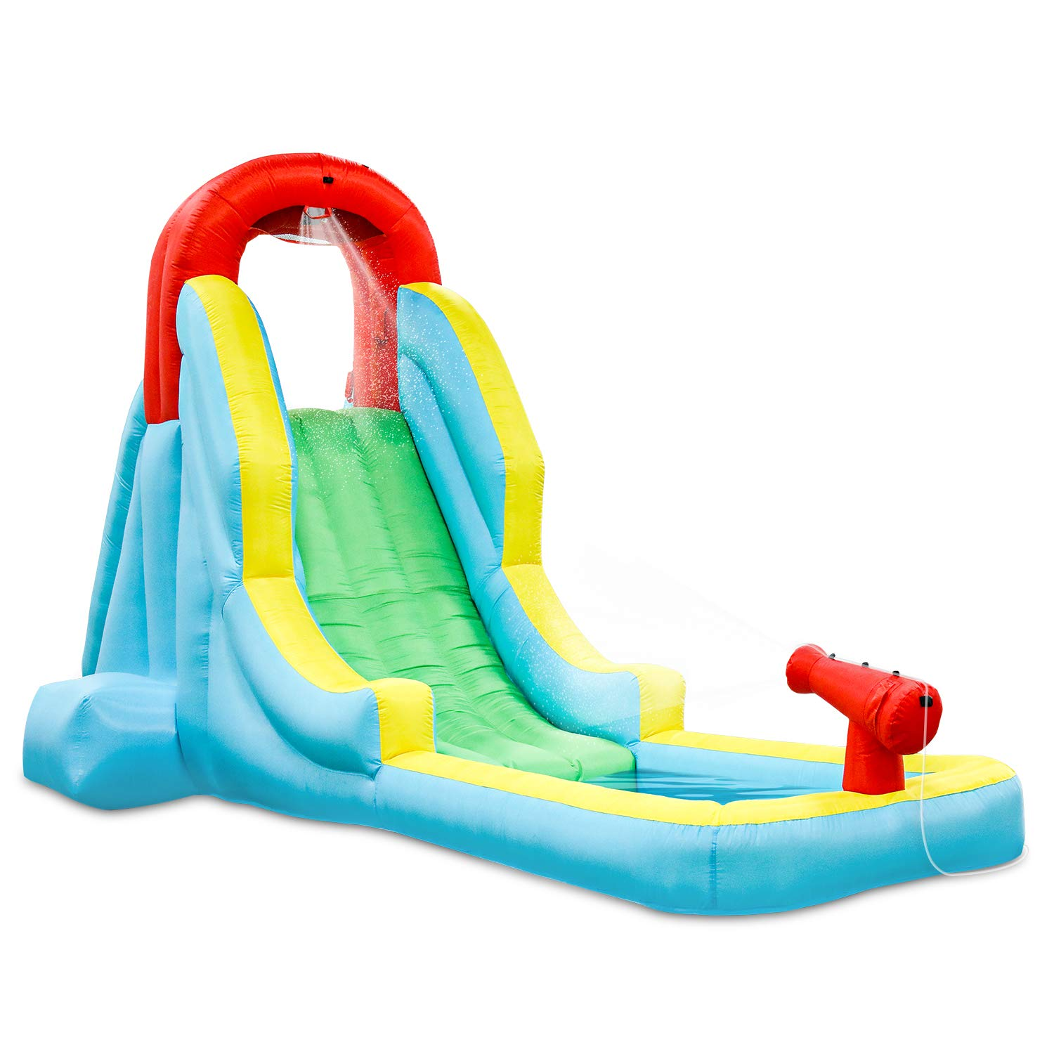 Deluxe Inflatable Water Slide Park - Heavy-Duty Nylon for Outdoor Fun - Climbing Wall, Slide, & Small Splash Pool - Easy to Set Up & Inflate with Included Air Pump & Carrying Case by Sunny & Fun (Image #1)