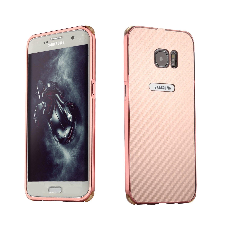Coque Samsung Galaxy S7 Luxe Argent, Mé tal Bumper Housse, Slynmax Cristal Clair Etui Aluminium Pare-Choc et PC Arriere Rigide Coque Ultra Mince Lisse Mé tal Cool Etui Couverture pour Samsung Galaxy S7 Métal Bumper Housse