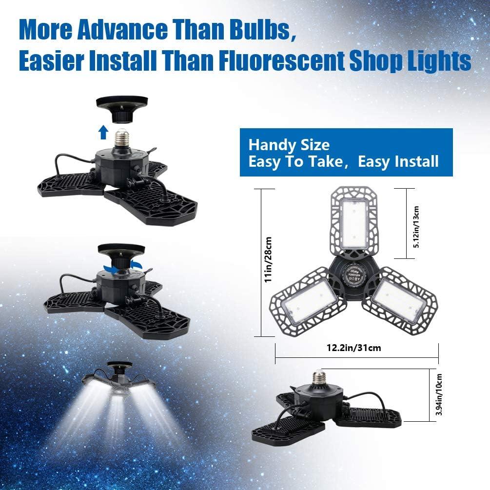 LED Garage Lights 2-Pack 80W,Ralbay Deformable Ceiling Lighting E26//E27 8000LM LED Light Bulbs for Workshop Warehouse Lights with Adjustable Panels 6000K