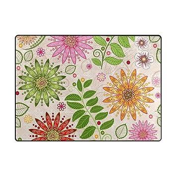 Amazon Com Vantaso Soft Foam Nursery Rugs Green Leaves Pink Floral