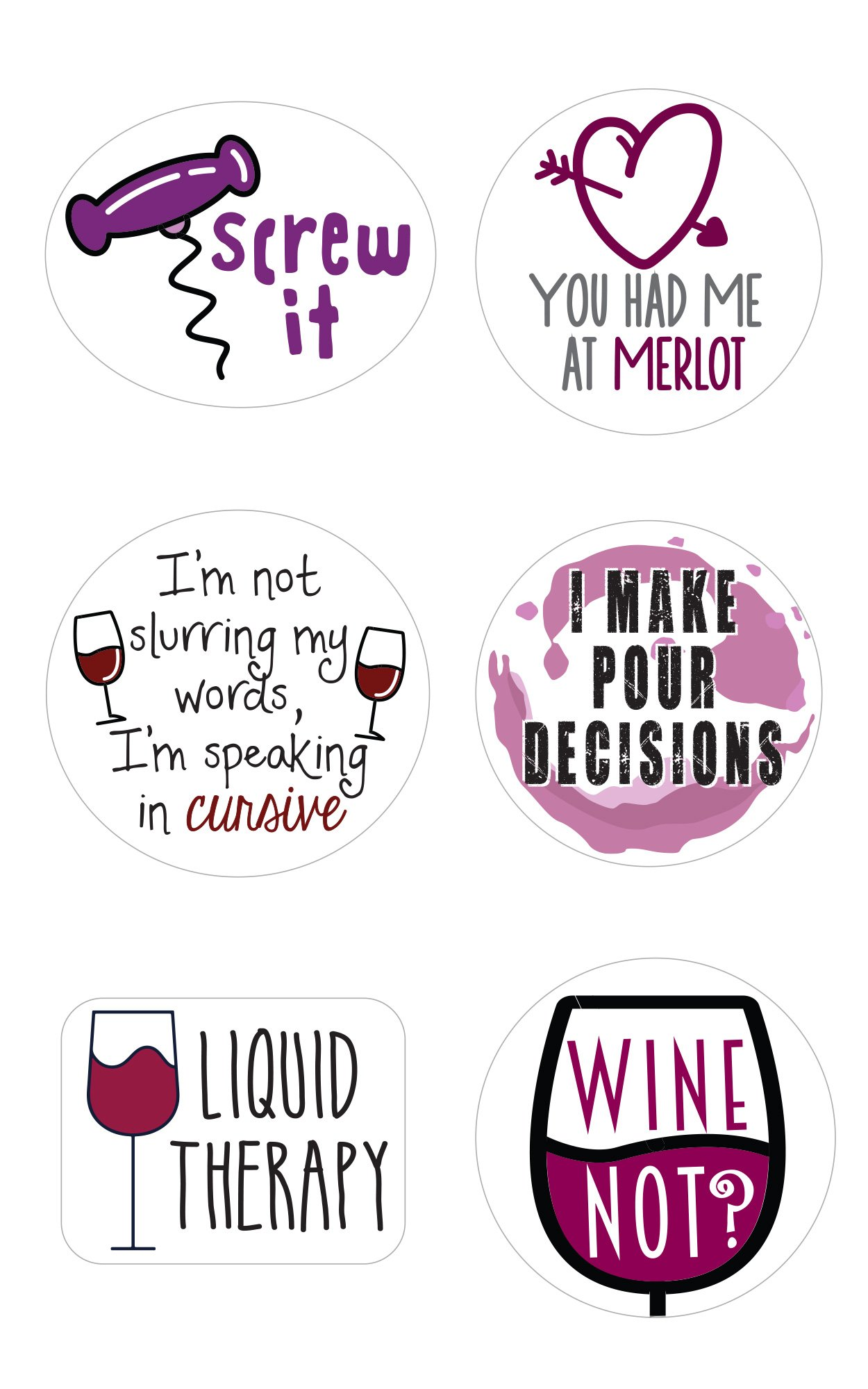 Wine Glass Markers | Set of 12 Static Cling, REUSABLE Stickers | Funny Wine Theme Party Supplies | Unique Alternative to Wine Charms