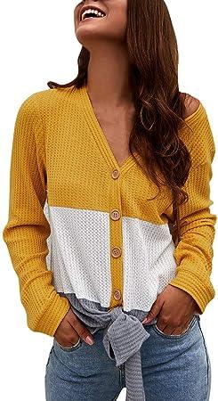 Blusa de Punto SUNNSEAN Camisa Mujer Raya Cuello Redondo ...