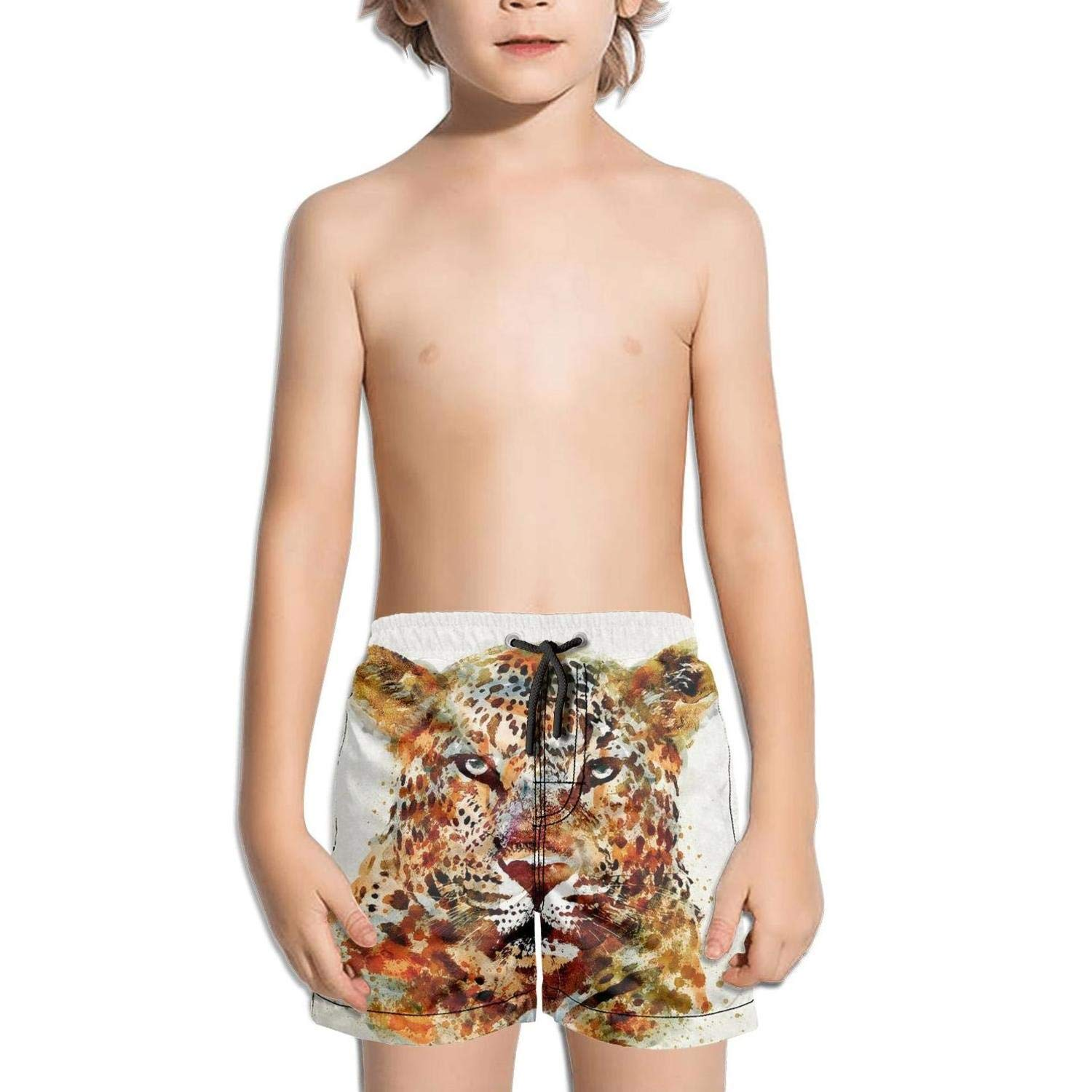 Etstk Leopard Watercolor Kids Comfortable Swim Trunks for Schoolboys