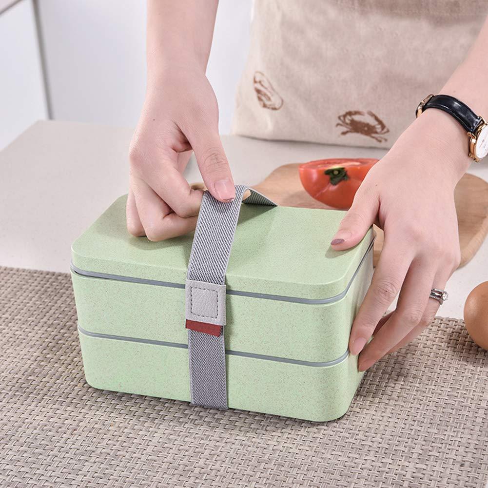 1PC de Doble Capa Caja de Almuerzo Amarillento Paja de Trigo Bento Box para Kid Estudiante Adulto Eco Friendly Caja de Almuerzo del Estilo japon/és
