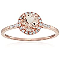 10k Rose Gold Morganite And Diamond Classic Princess Di Halo Engagement Ring (1/10cttw, H-I Color, I1-I2 Clarity), Size 7