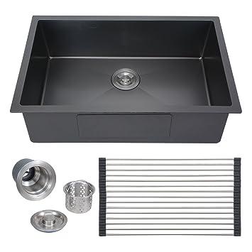 Perfect Voilamart 28u0026quot;x18u0026quot; Single Bowl Sink Glossy Black Handmade Stainless  Steel Kitchen Sink 18