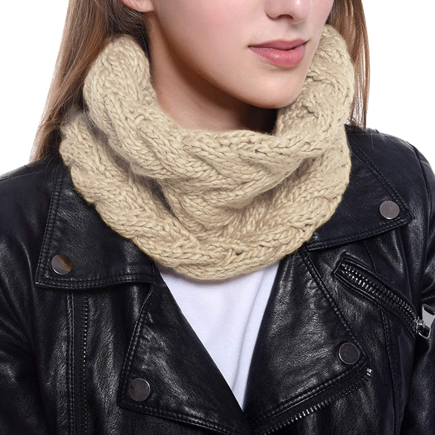 Olinase Knitted Neck Loop Scarves for Women Solid Color Comfy Autumn Winter Circle Neck Warmer