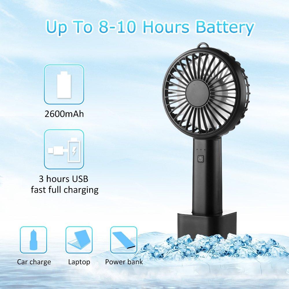 USB Mini Ventilator, Ifecco Handventilator Tragbarer Tischventilator Lüfter mit Aufladbarem 2600mAh Batterie für Reisen, Büro und Zuhause (Schwarz)