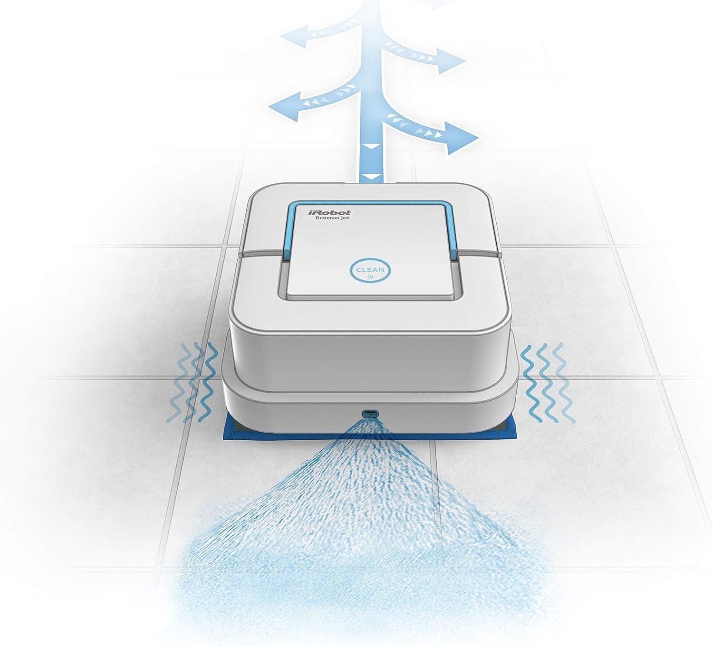 a Umido e Lava Grazie al Suo Precision Jet Spray Bianco Robot Lava Pavimenti 3 in 1 Adatto per Bagni e Cucine Pulisce a Secco iRobot 240 Braava Jet