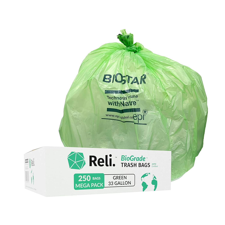 Reli. Bolsas de basura biodegradables de 33 galones (250 unidades ...