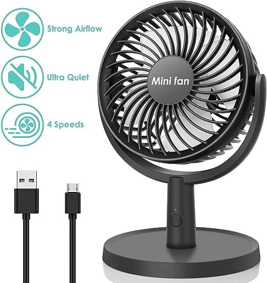 COMLIFE Ventilador de Escritorio Mini USB Fan con 4 Velocidades ...