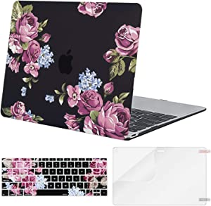 MOSISO MacBook 12 inch Case (Model A1534, Release 2017 2016 2015), Plastic Pattern Hard Shell Case & Keyboard Cover & Screen Protector Compatible with MacBook 12 inch with Retina Display, Purple Peony