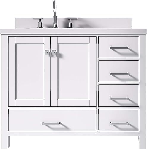 ARIEL 43″ Inch White Bathroom Vanity