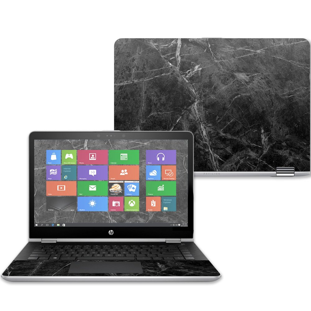 MightySkins Skin For HP Pavilion x360 14'' (2017) - Black Marble | Protective, Durable, and Unique Vinyl Decal wrap cover | Easy To Apply, Remove, and Change Styles | Made in the USA