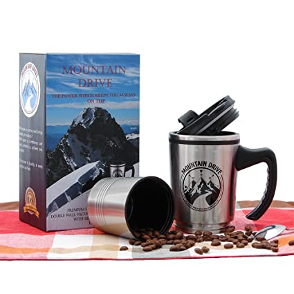 Leakproof Stainless Steel Travel Mug Coffee Cup With Handle 2 In 1 Double  Wall Coffee Mug