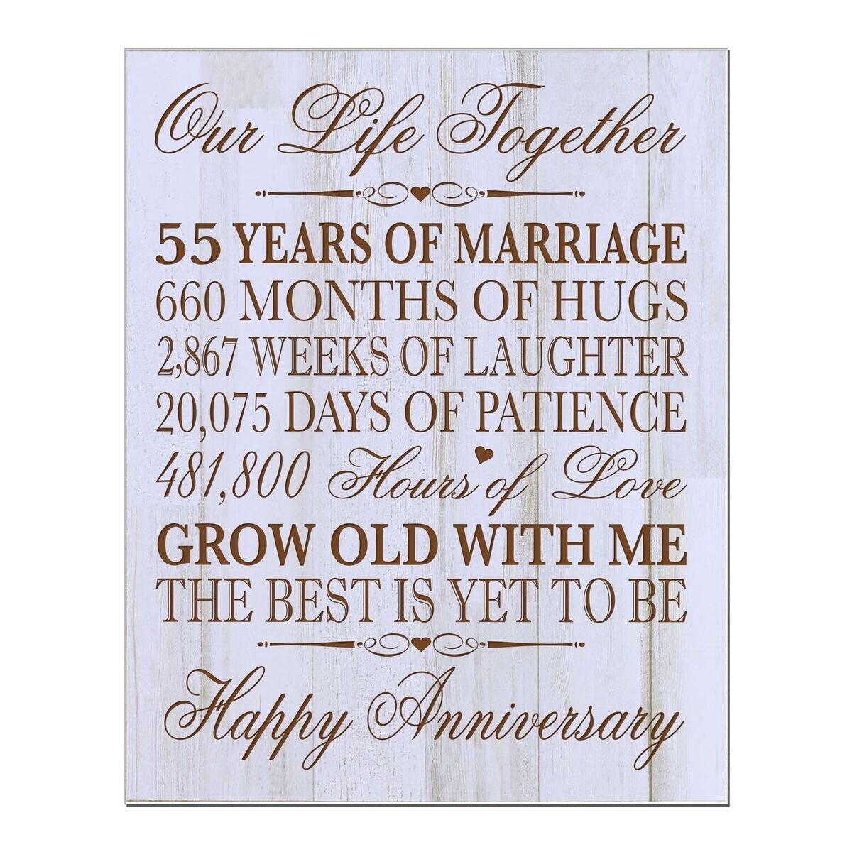 Lifesong Milestones 55th Wedding Anniversary Wall Plaque Gifts For