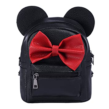 2d2d65d1f5cb Women Girl Cute Cartoon Mini Backpack Kid Small PU Leather Bowknot Mouse  Rucksack Student Back to