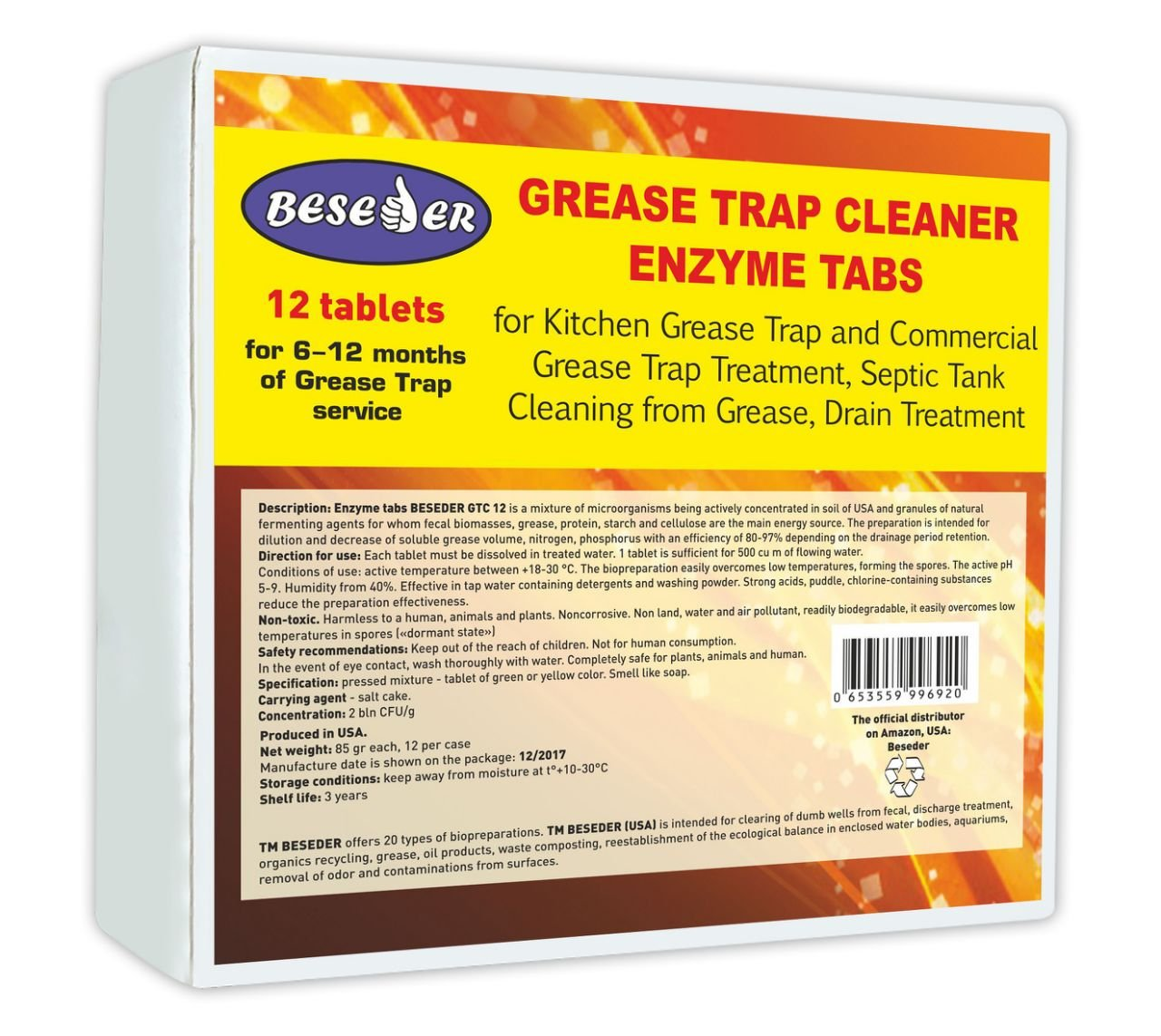 Beseder Grease Trap Cleaner 12 pcs for grease decomposition, septic treatment and grease trap cleaning by Beseder (Image #1)