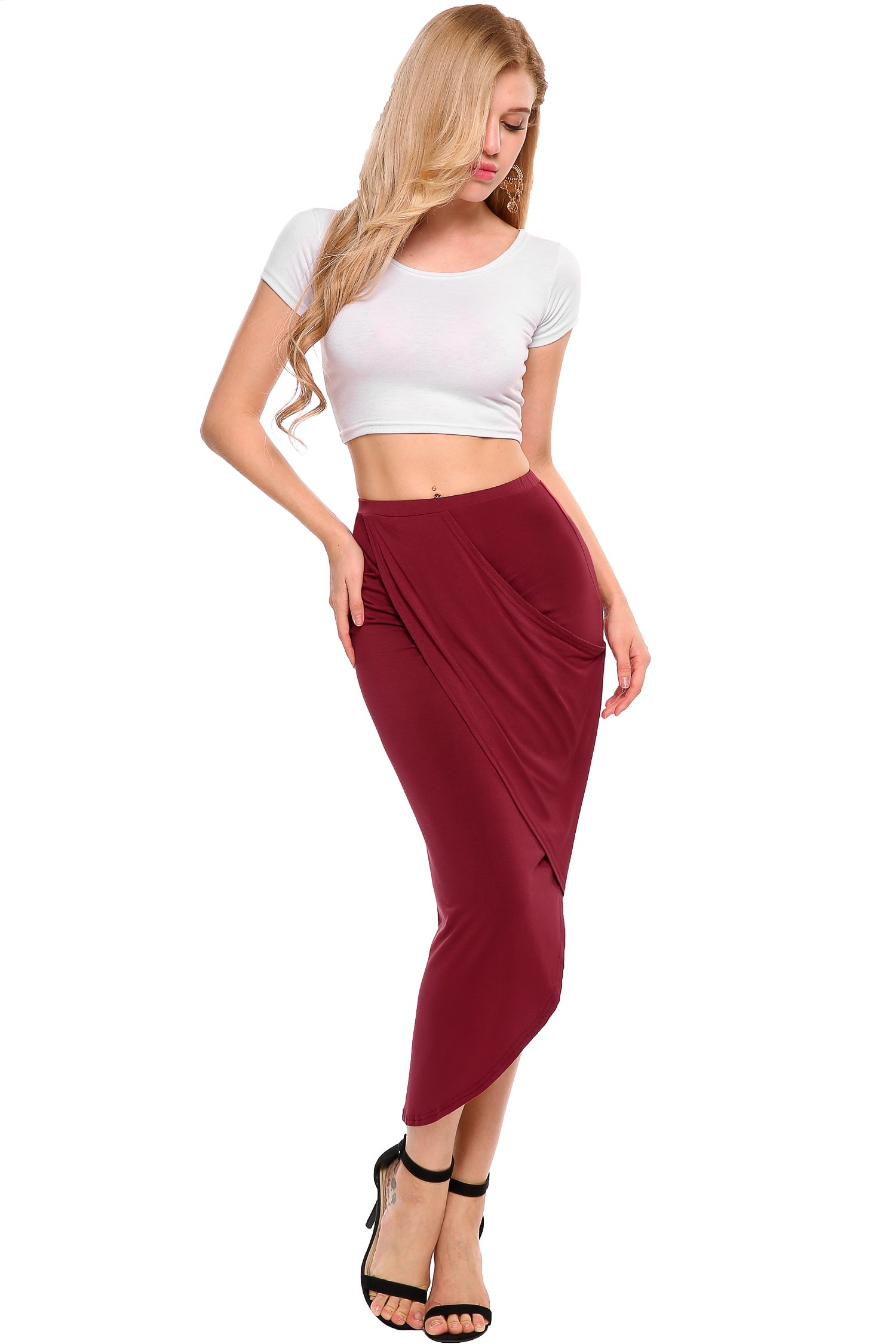 zeagoo Ladies Mid Long High Waist Pleated Skater Skirt Cover up,Wine Red,Large