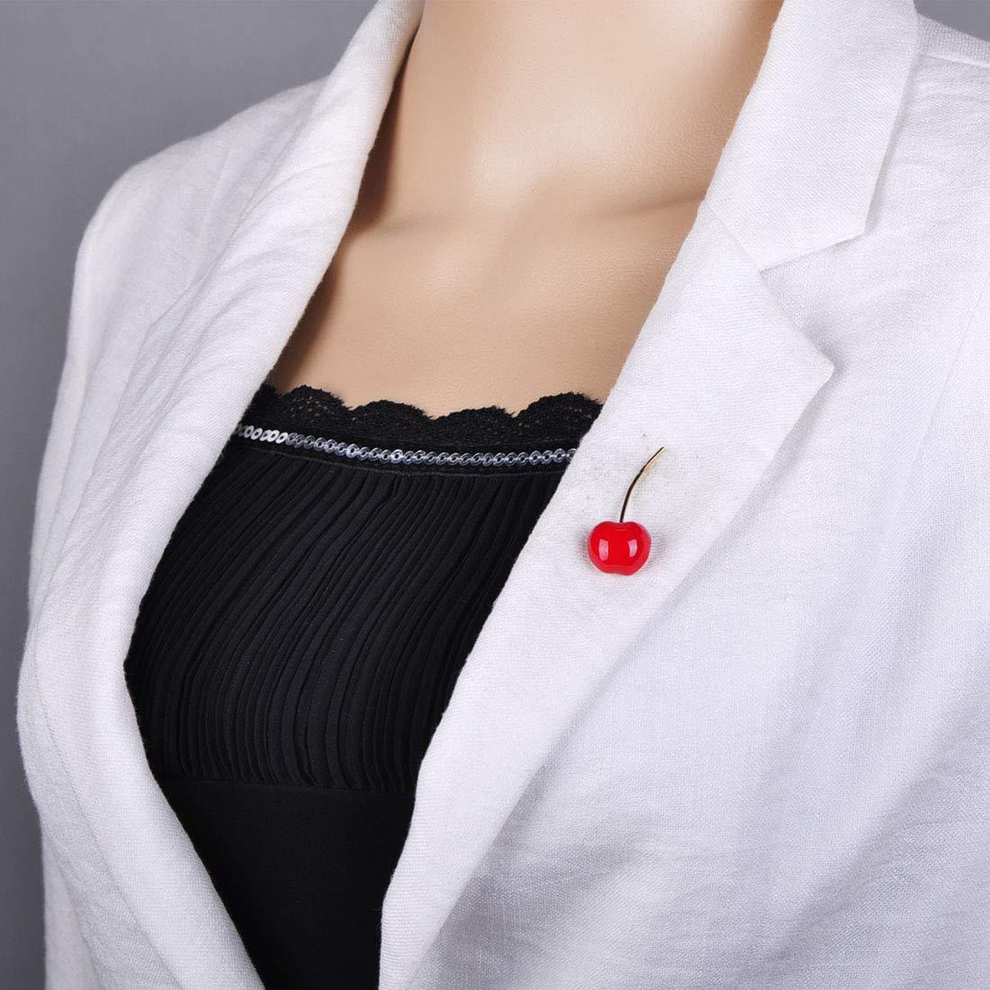 MECHOSE Lovely Red Cherry Shape Brooch Pins for Women Kid Cute Small Enamel Fruit Sweater Shirt Bag by MECHOSEN (Image #2)