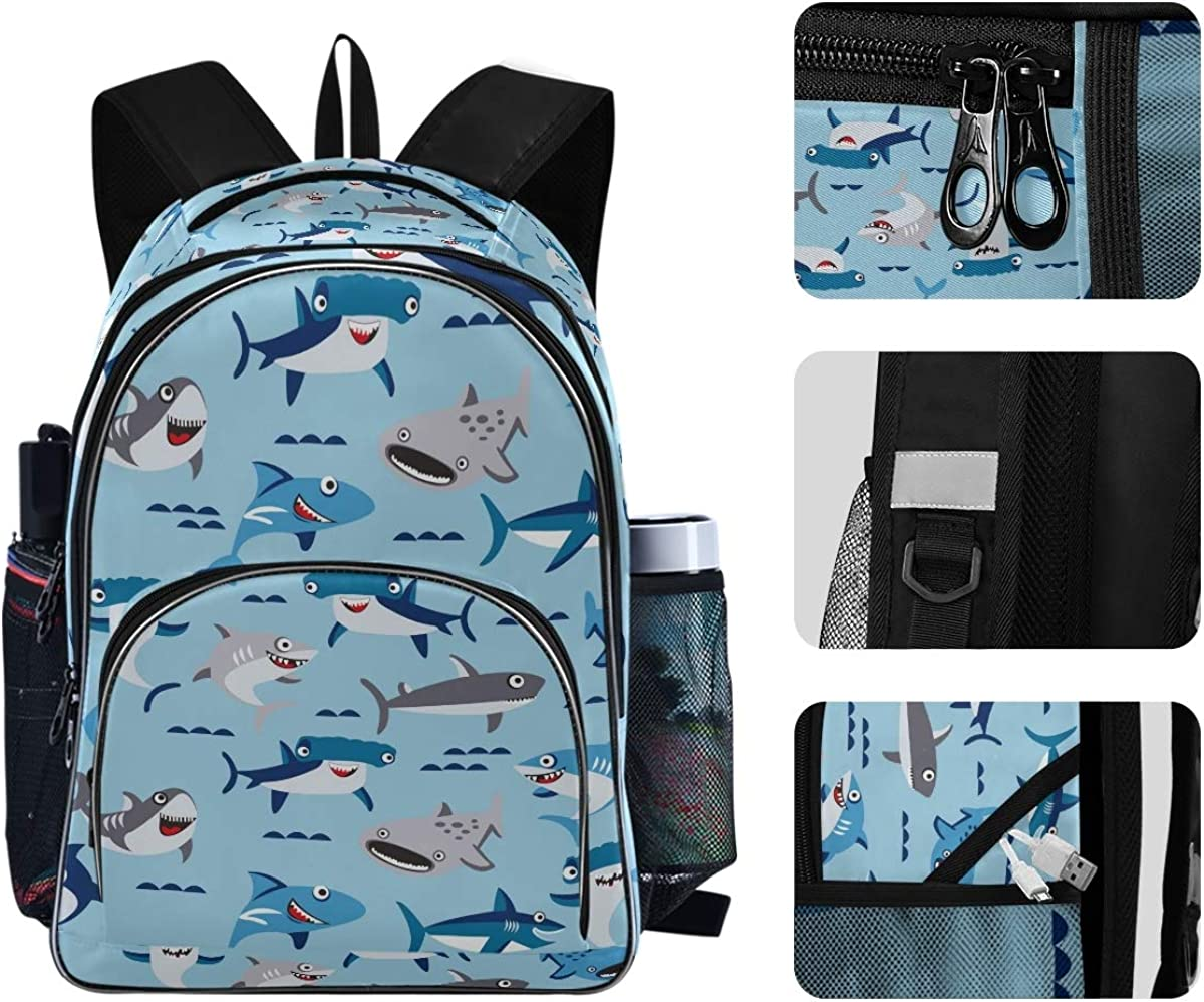 901d Shark Water Blue Backpack for Students Unisex School Bag Laptop Bag College School Bookbag Backpack