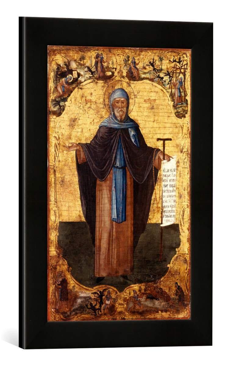 Gerahmtes Bild von Ikonenmalerei Antonius der Große/Ikone, Kunstdruck im hochwertigen handgefertigten Bilder-Rahmen, 30x40 cm, Schwarz matt