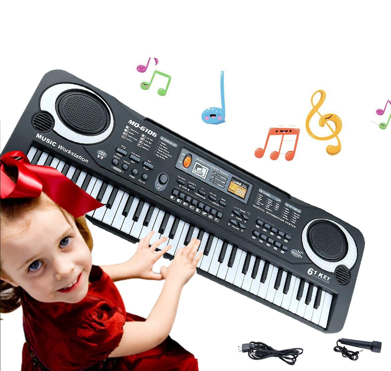 Keyboard Piano Kids 61 Key Electronic Digital Piano Musical Instrument Kit with Microphone Music Home Teaching Toys for Boy Girls