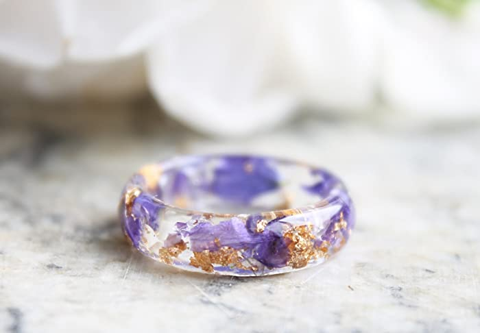 Ring with Pressed Blue Petals and Gold Flakes