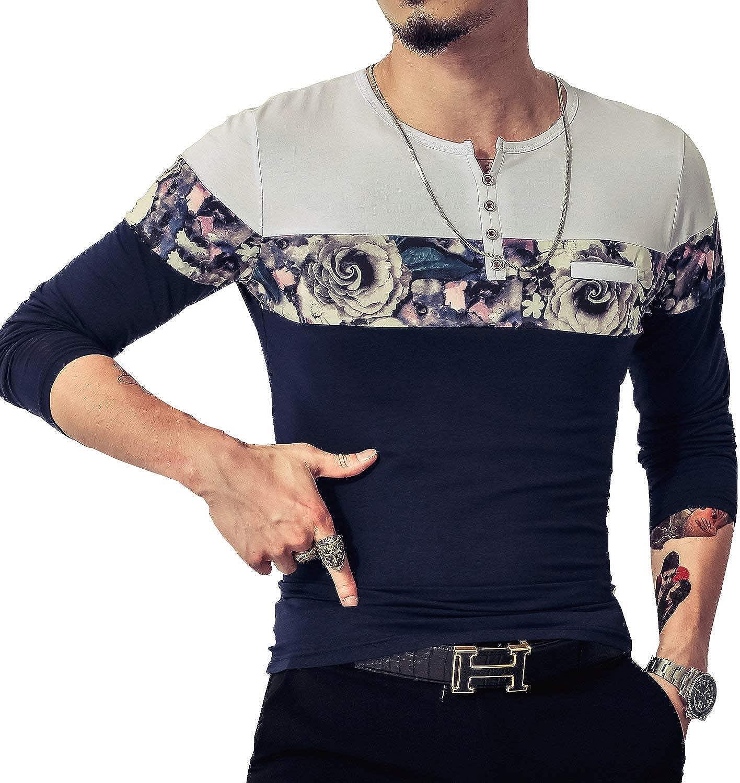 LOGEEYAR Mens Casual Slim Fit Short Sleeve Shirts Fashion Color Block Printing Henley T-Shirts