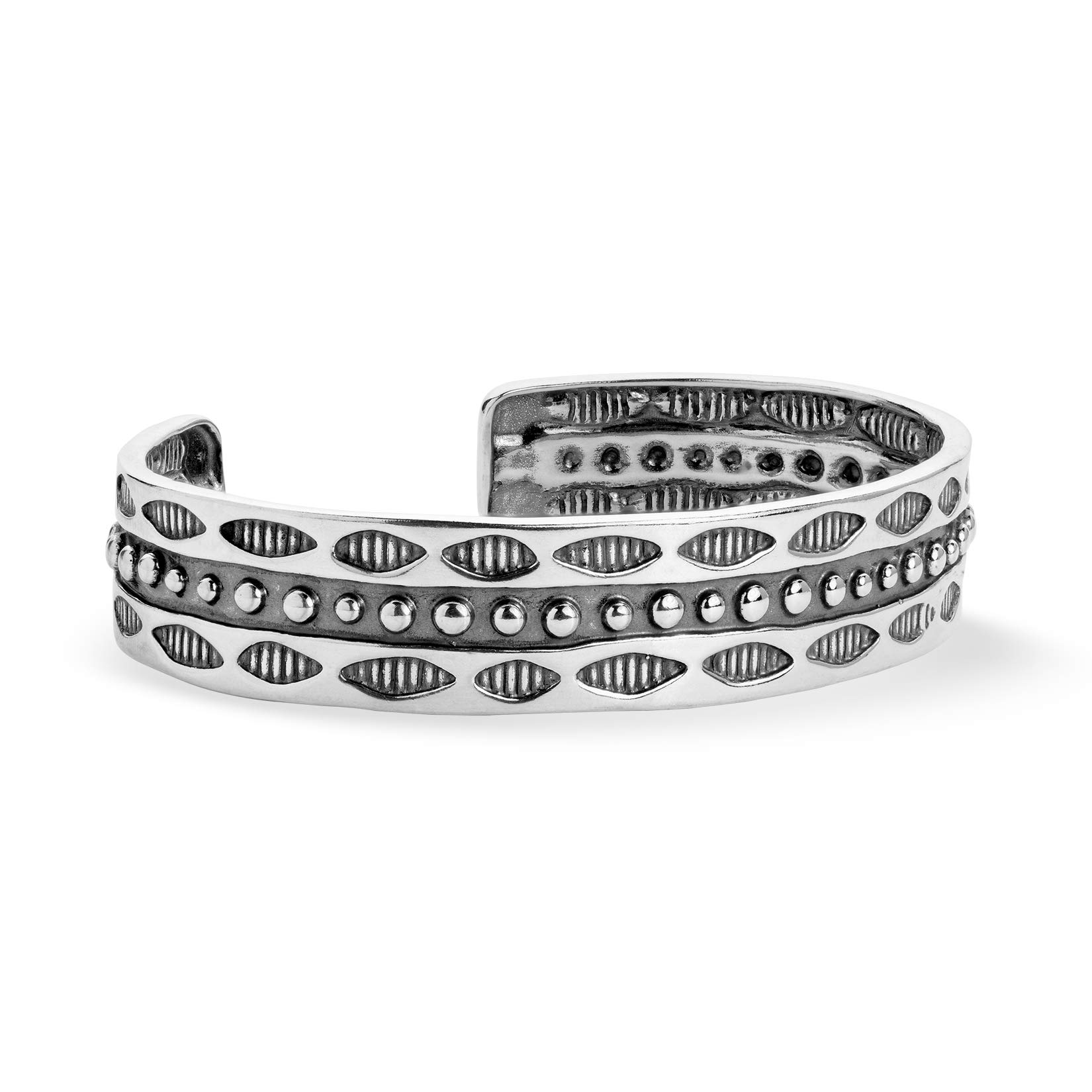 American West Oxidized 925 Sterling Silver Beaded & Grooved Window 1/2'' Wide Cuff Bracelet, Large (7''-7.25'')