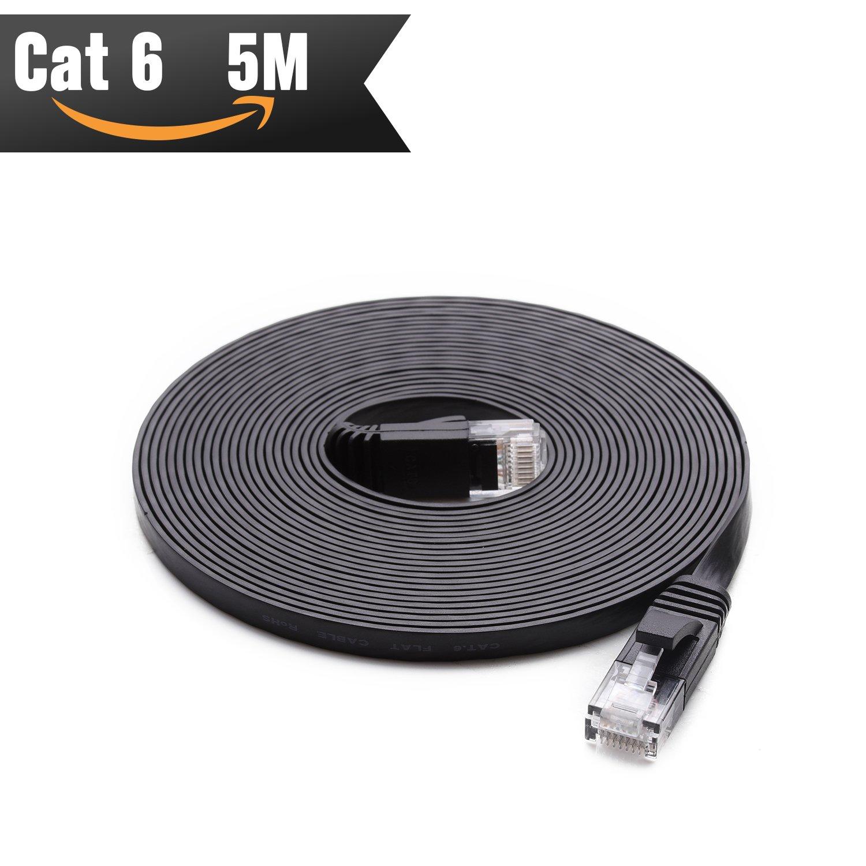 Cable de red Ethernet Cat6 5 Metros Negro (Al Precio de Cable Cat5e pero Mayor Ancho de Banda) Cables Cat 6 Planos para redes de Internet, LAN Gigabit de ...