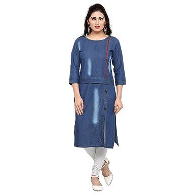 Amazon Com Women S Kurta Latest Denim Blue Fancy Dress Kurti Clothing