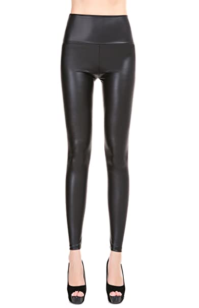 4aa6b590e36f66 ZUUC Women's Faux Leather PU Slim Stretch High Waisted Leggings Skinny Pants  (S, Matt