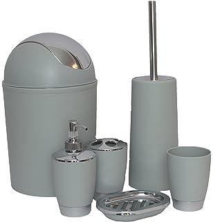 discountseller 6pc piece bathroom accessory set bin soap dsh dispenser tumbler toothbrush holder light grey