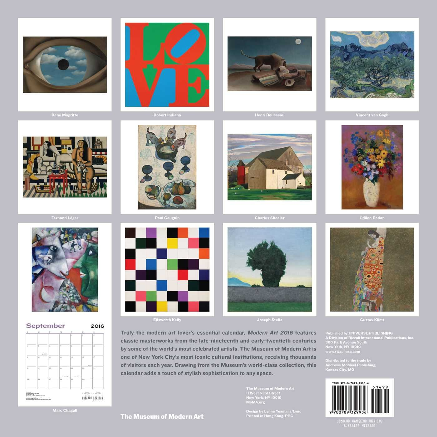 Modern Art 2016 Wall Calendar The Museum Of Modern Art