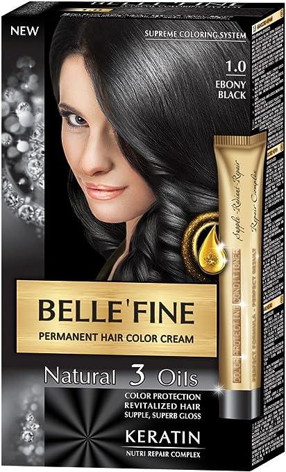 BELLEFINE® - Black Series - Tinte permanente natural - Con 3 aceites y queratina - Negro ébano