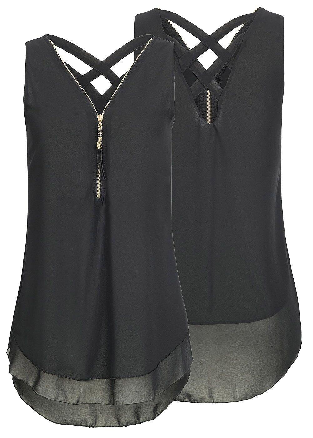 Yknktstc Womens Casual Sleeveless V Neck Chiffon Tank Top Crisscross Back Zipper Blouse T Shirt XX-Large Style 2-Black