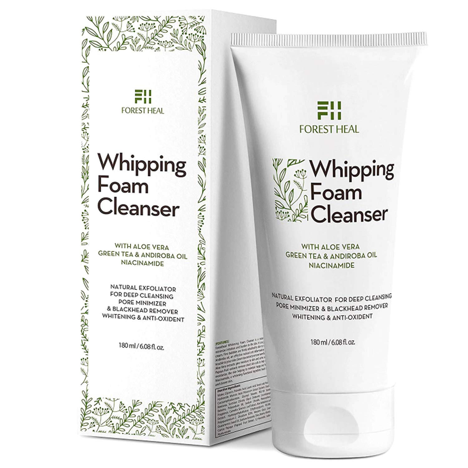 Natural Face Wash and Hand Cleanser - Coconut Based Exfoliating Face Cleanser with Aloe Vera, Papaya Extract, Green Tea for Natural Antioxidant Cleansing Foam, Forest Heal (6.08 Fl Oz.)