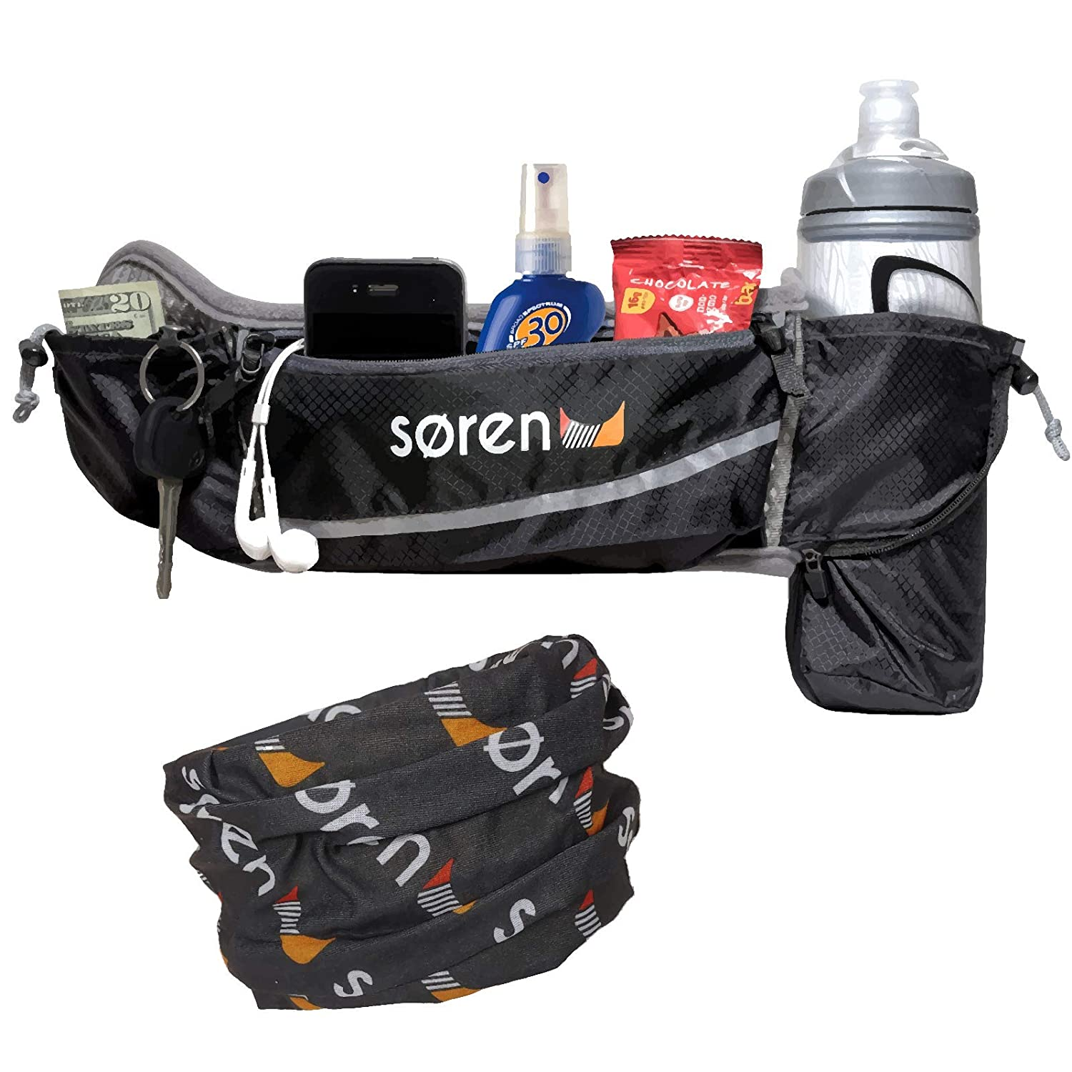 Soren Go Running Belt 3 Pocket Waist Pack Carries The Here Is Diagram Showing Twist Water Bottle Cell Phone Holder For Grey Black With Reflective Trim Ultimate