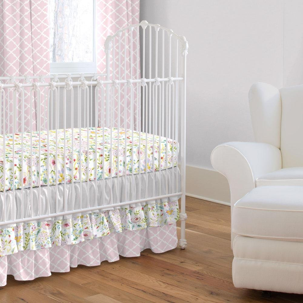 Carousel Designs Pink and Gray Primrose Crib Skirt Three Tier 18-Inch Length