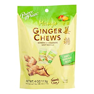 Prince Of Peace Ginger Chews with Mango, 4 oz. – Candied Ginger – Mango Candy – Mango Ginger Chews – Natural Candy – Ginger Candy for Nausea – Prince of Peace