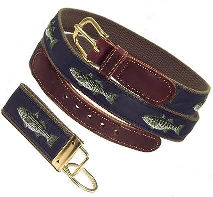 FREE Matching Key Ring Sizes 30 to 50 Navy Web Preston Leather Tarpon Ribbon Belt