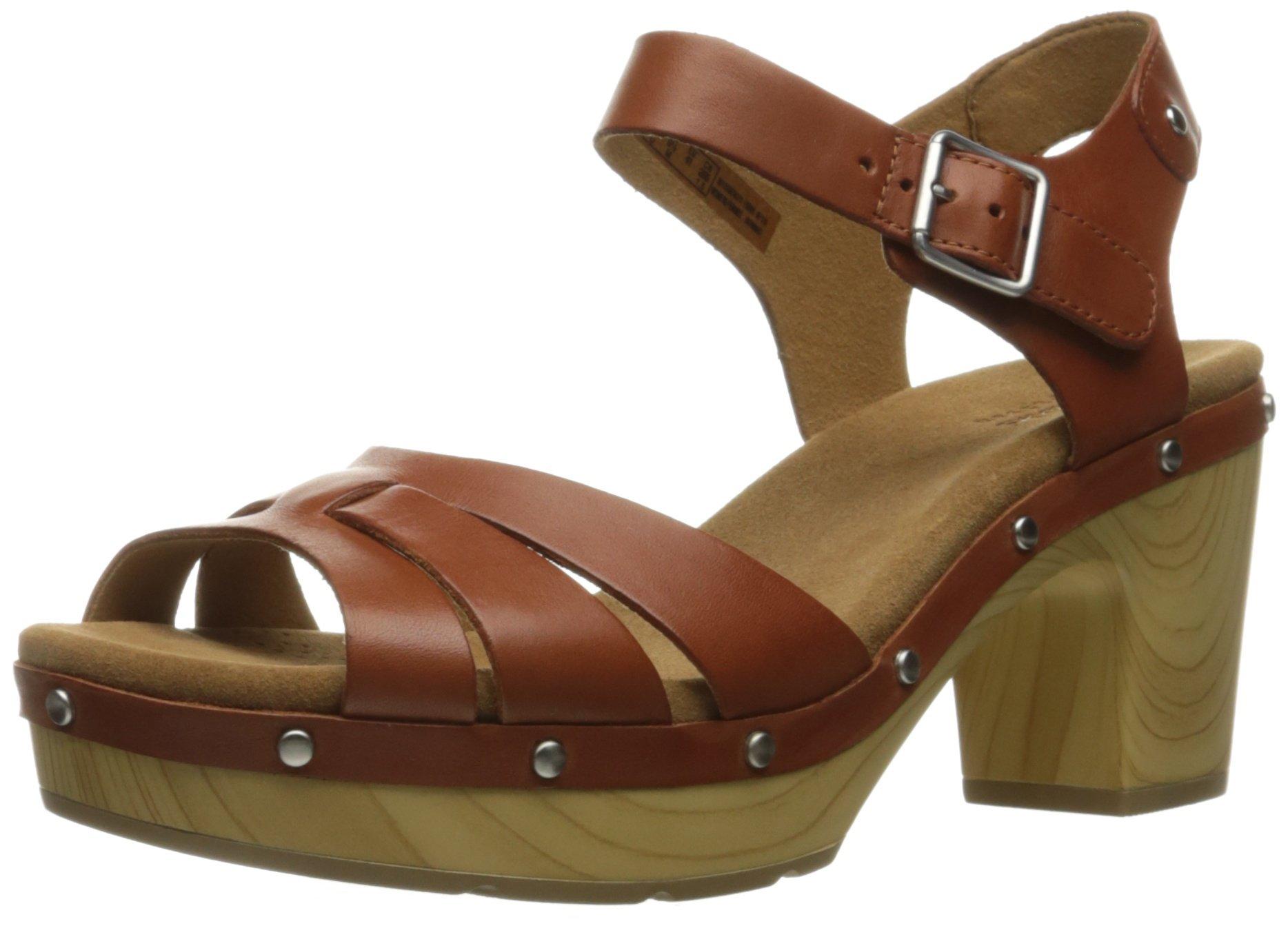 Clarks Women's Ledella Trail Heeled Sandal, Tan Leather, 9.5 M US by CLARKS